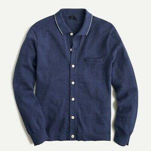 NWT J. Crew men's M cotton polo cardigan sweater
